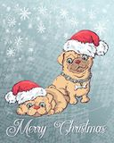 Christmas poster with dog portrait in red Santa s hat and green checkered neckerchief with bow. Royalty Free Stock Photo