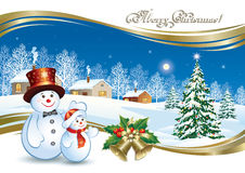 Christmas poster with a festive Christmas tree and snowman. Christmas  poster with Christmas tree and snowman on the background of a winter landscape Stock Image