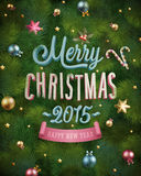 Christmas poster with fir tree texture and baubles. Vector illustration. Stock Photos