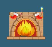 Christmas Fireplace Poster Vector Illustration. Christmas poster with fireplace and candle with candy and red socks, traditional interior decoration for winter Stock Photo