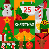 Christmas poster with flat holiday icons Stock Photography