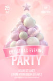 Christmas poster or flyer template with pink christmas tree made in gentle colors Stock Image