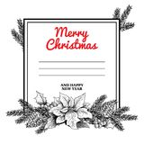 Christmas poster with hand drawn garland. Fir branches, pine cones, mistletoe and poinsettia. Great for greeting cards, invitation. S, postcards  and banners Royalty Free Stock Image