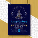 Christmas Poster, Happy New Year Rooster 2017 Party flyer, placard. Vector Poster Merry Christmas and Happy New Year 2017, Holiday party flyer A4 size, Trendy stock illustration