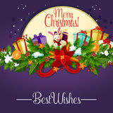 Christmas poster with holly berry garland and gift Stock Photo