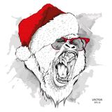 The christmas poster with the image of gorilla portrait in Santa`s hat. Vector illustration. Stock Image