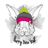 The christmas poster with the image rabbit portrait in winter hat. Vector illustration. Stock Image