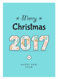 Christmas poster 2017. Poster for invitations in vector format. Merry Christmas and Happy new year 2017 in line geometric style Stock Photos
