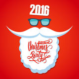 Christmas poster for party. New year 2016. Christmas party hand drawn text design. Santa's beard and sunglasses Royalty Free Stock Images