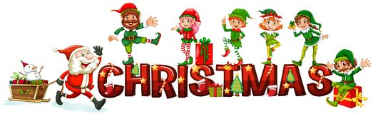 Christmas poster with Santa and elves. Illustration vector illustration
