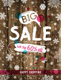 Christmas poster with snowflakes and sale offer, vector Royalty Free Stock Photo