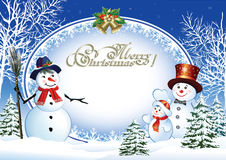 Christmas poster with snowmen.   Christmas poster with a snowman on the background of a winter landscape stock illustration