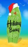 Christmas poster surfboard Stock Photo
