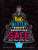 Christmas poster with tree, snowflakes and sale offer, vector Stock Photography