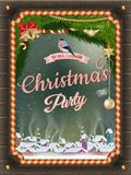 Christmas Poster with village. EPS 10 Stock Photos