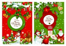 Christmas poster of xmas tree, Santa and snowman. Christmas holiday festive poster. Xmas tree with lights and ball, Santa Claus and snowman with gift bag, holly Stock Image