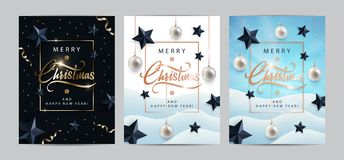 Christmas invitations or cards set. Holiday banners with metallic lettering, black stars, christmas balls,snow, tinsel, confetti. Christmas posters, invitations royalty free illustration
