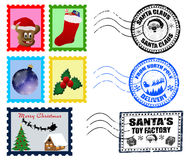 Christmas Postmarks and Stamps Stock Photography