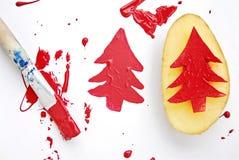 Christmas potato-print Royalty Free Stock Photo