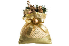 Christmas pouch with decoration isolated on white Stock Photo