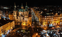Christmas Prague and the cathedral St. Nicholas - Czech Republi stock photo