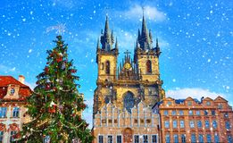 Christmas in Prague, Czech Republic. Green christmas tree at central square old town Staromestska in front of Church of Our Lady Before Tyn. Snowfall, snow in stock image