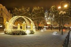 Christmas Prague in night Royalty Free Stock Photos