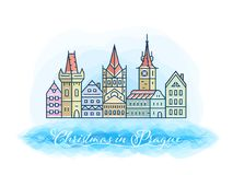Christmas in Prague postcard illustration. Old town skyline and buildings winter. Linear vector. Christmas in Prague postcard illustration. Old town skyline and Royalty Free Stock Image