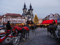 Christmas in Prague. Traditional Christmas market on the Old Town Square in Prague. Czech Republic stock photo