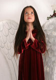 A Christmas prayer. Young girl dressed in angel wings looking upward and praying, with Christmas tree in background Stock Photography