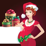 Christmas pregnant Santa-helper  banner Royalty Free Stock Photography