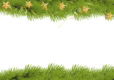 Christmas premise. With fir branches, golden stars and streamers on a white background Stock Images