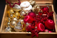 Christmas preparation with christmas balls Royalty Free Stock Images