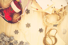 Christmas preparation handmade (scrap) Christmas decorations Royalty Free Stock Photography