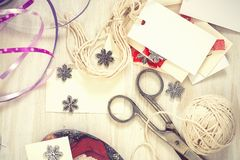 Christmas preparation handmade (scrap) Christmas decorations Stock Photos