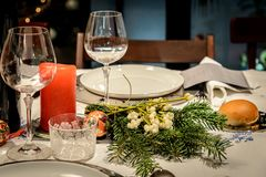 Christmas decoration in a celebration table stock image