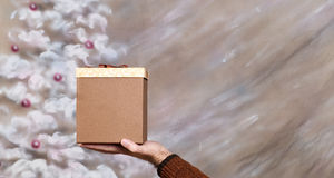 Christmas Present. A Christmas box present being held with ample copyspace on the right Stock Images
