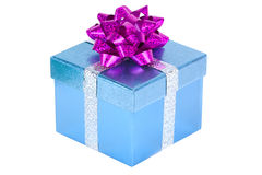 Christmas present. A blue Christmas present isolated on white Royalty Free Stock Image