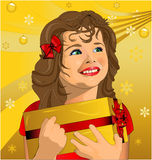Christmas present. A child's illustration with the gift of christmas vector illustration