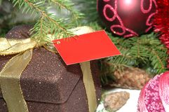 Christmas present. With empty card under tree close up Royalty Free Stock Images