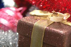 Christmas present. Under tree close up Royalty Free Stock Photography