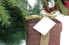 Christmas present. With empty card under tree close up Stock Photo