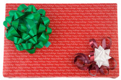Christmas Present. Wrapped christmas present with bow and ribbon Royalty Free Stock Photos