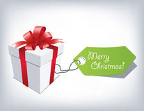 Christmas Present. Gift box with red bow isolated on white Stock Photos