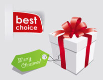 Christmas Present. Gift box with red bow isolated on white Stock Photo