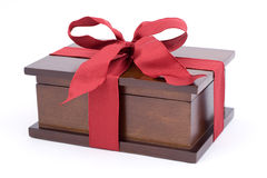 Christmas present. Wooden box for jewellery, christmas present stock image
