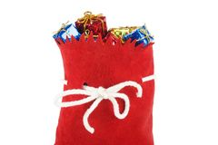 Christmas present. Santa bag isolated on white Stock Photo