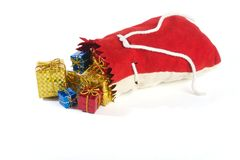 Christmas present. Gifts were scattered from a bag Royalty Free Stock Images