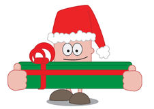 Christmas Present. A cartoon character holding a big Christmas present and wearing a Christmas hat Stock Photography