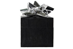 Christmas present. Isolated black gift box with a silver ribbon on top Stock Images